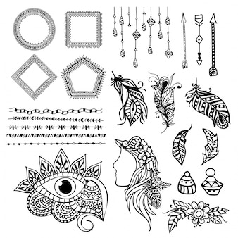 Assortment of decorative items in boho style