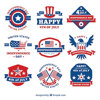 Assortment of decorative labels for independence day