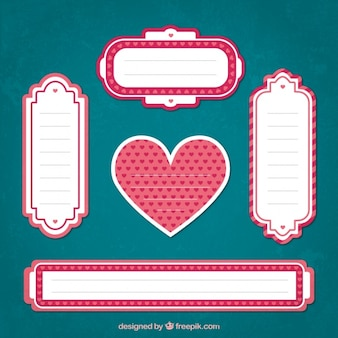 Assortment of decorative labels with hearts