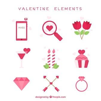 Assortment of decorative valentine items in flat design