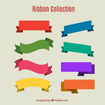 Assortment of eight ribbons with different colors