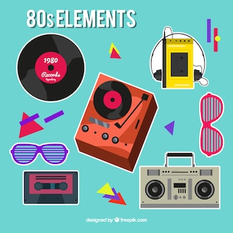 Assortment of eighties objects stickers