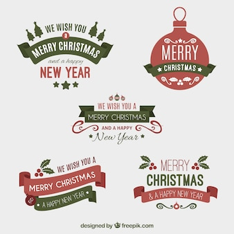 Assortment of elegant christmas stickers in vintage style