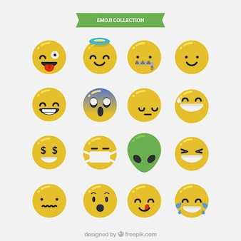 Assortment of expressive emojis in flat design