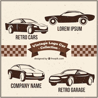 Assortment of fantastic car logos in retro style