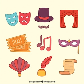 Assortment of fantastic colorful theatre objects