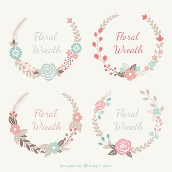 Assortment of fantastic floral wreaths in pastel colors