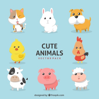 Assortment of farm animals in flat design