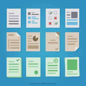 Assortment of files in flat design