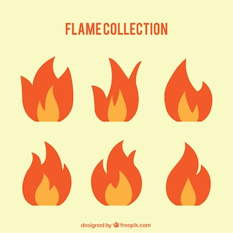 Assortment of flames in flat design