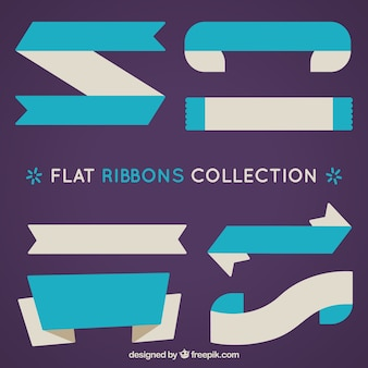 Assortment of flat blue ribbons