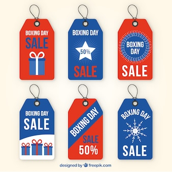Assortment of flat boxing day labels