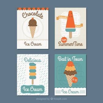 Assortment of flat cards with tasty ice creams