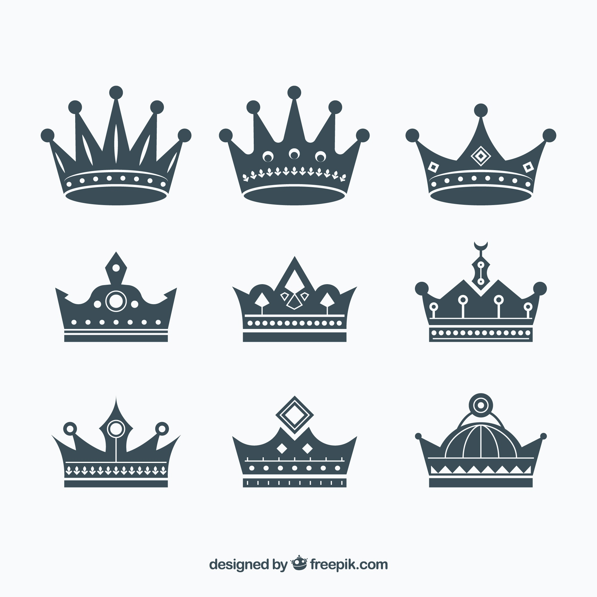 Assortment of flat crowns with great designs