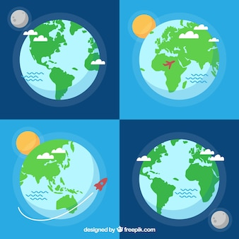 Assortment of flat earth globes with decorative elements