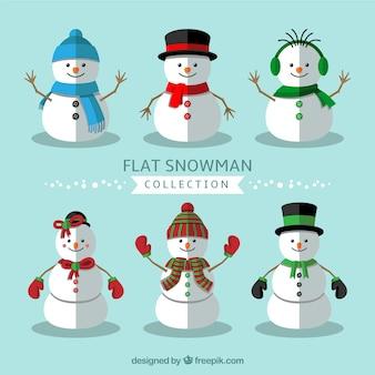 Assortment of flat snowmen with winter elements