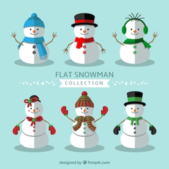 Assortment of flat snowmen with winter elements