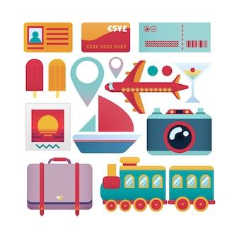Assortment of flat travel items