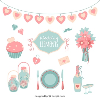 Assortment of flat wedding elements in pastel colors
