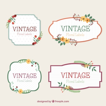 Assortment of floral labels in retro style