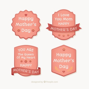 Assortment of four mother's day stickers in flat design