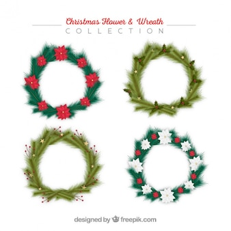 Assortment of four realistic christmas wreaths
