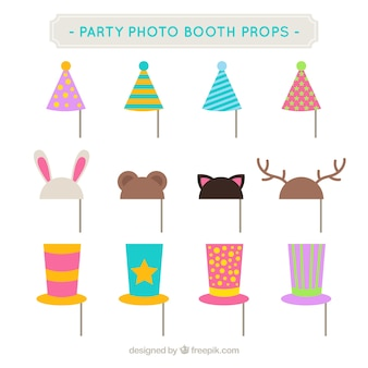 Assortment of funny hats for photoboth