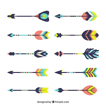 Assortment of great arrows in boho style