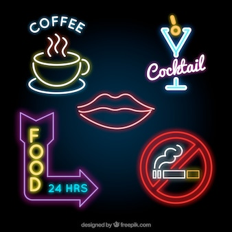 Assortment of great neon light placards