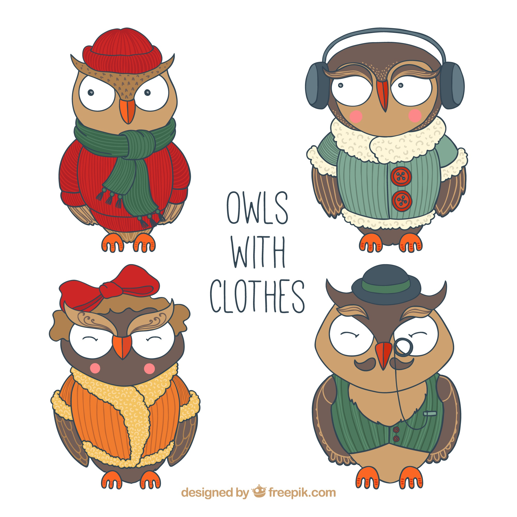 Assortment of great owls with clothes