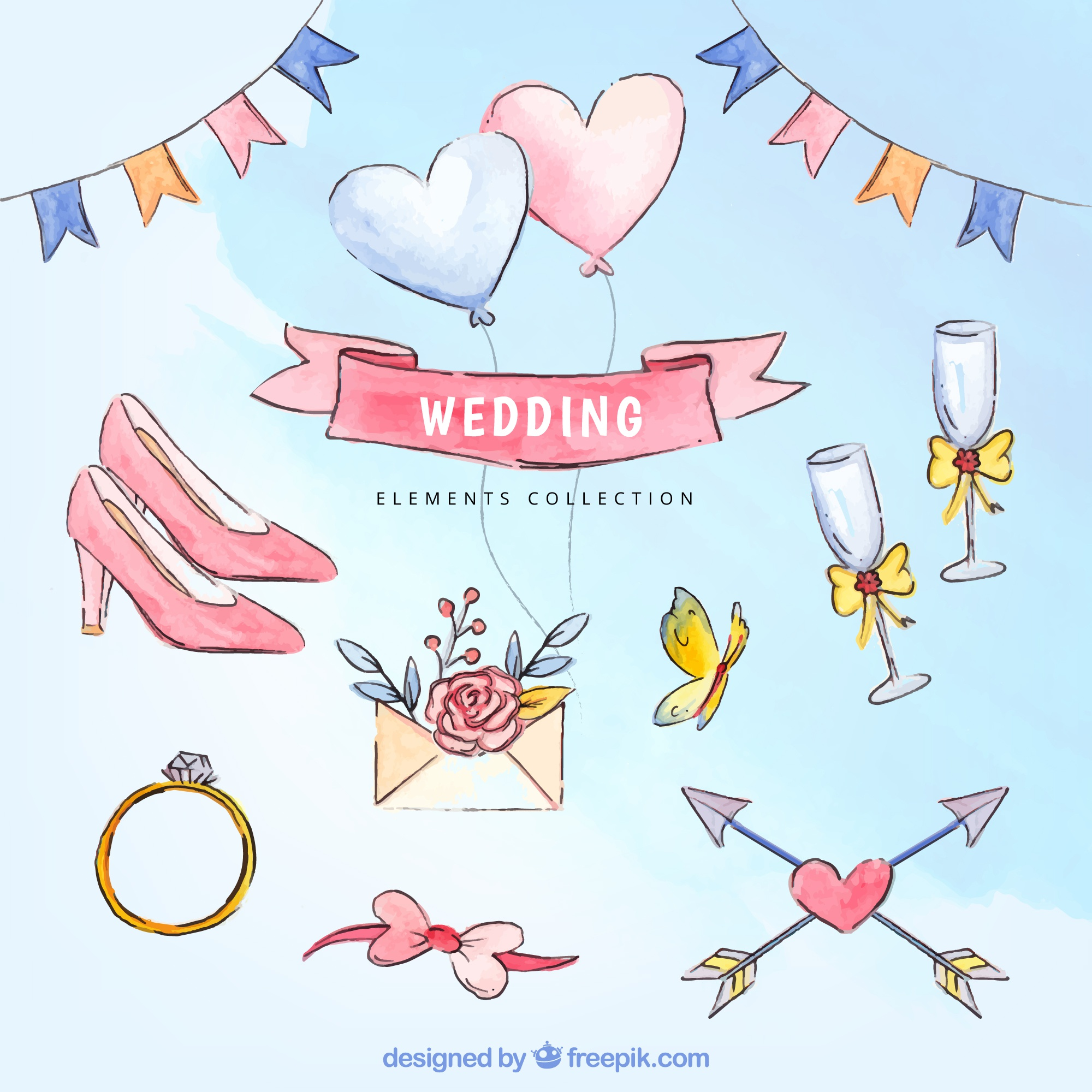 Assortment of great watercolor wedding elements