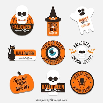 Assortment of halloween stickers in flat design