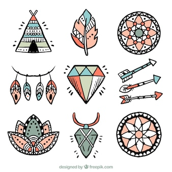 Assortment of hand drawn boho elements