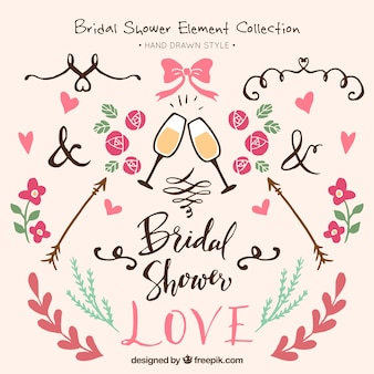 Assortment of hand-drawn bridal shower elements