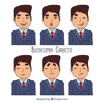 Assortment of hand-drawn businessman with expressive faces