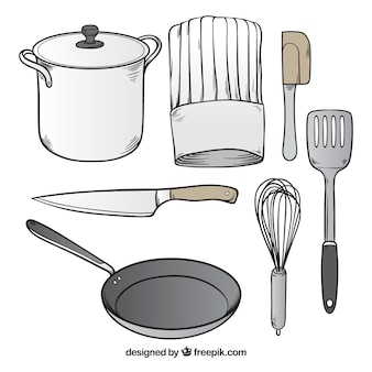 Assortment of hand-drawn chef utensils