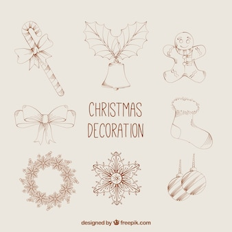 Assortment of hand drawn christmas items in classic style