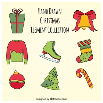 Assortment of hand drawn christmas items