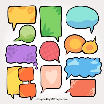 Assortment of hand drawn colored speech bubbles