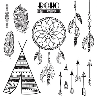 Assortment of hand-drawn ethnic elements