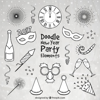 Assortment of hand drawn new year party accessories