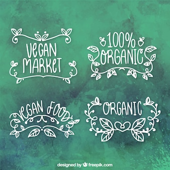 assortment of hand-drawn organic food stickers