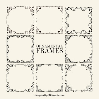 Assortment of hand drawn ornamental frames