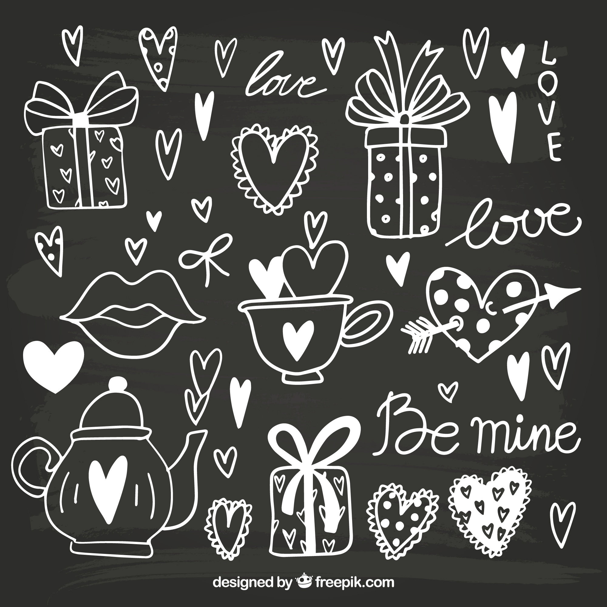 Assortment of hand-drawn valentine's day objects