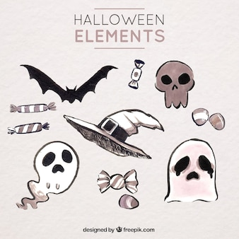 Assortment of hand drawn watercolor halloween elements