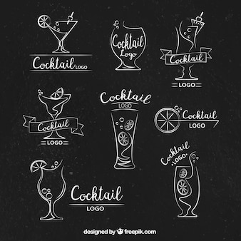 Assortment of logos with decorative drinks