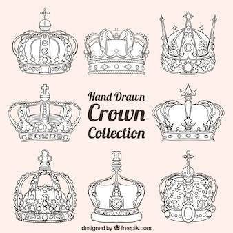 Assortment of luxury crowns in hand-drawn style