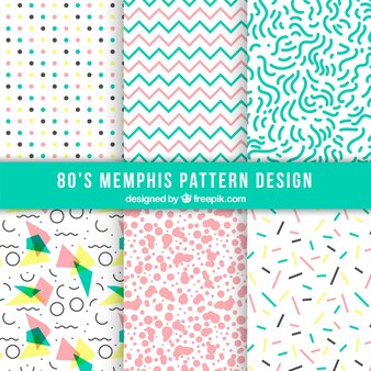 Assortment of modern patterns with colorful forms