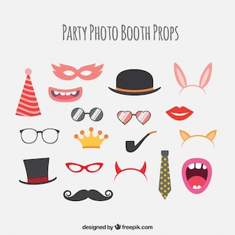 Assortment of party elements for photo booth