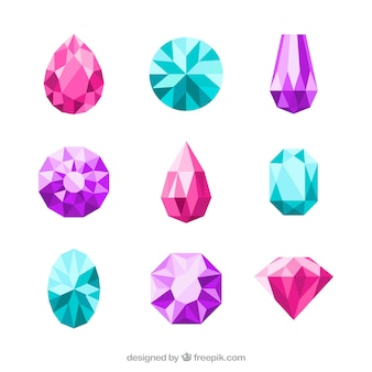 Assortment of pretty stones in flat design